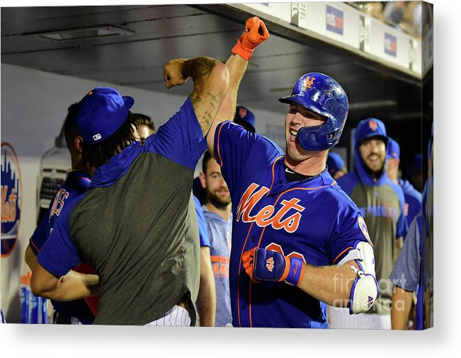 People Acrylic Print featuring the photograph Miami Marlins V New York Mets - Game Two by Steven Ryan