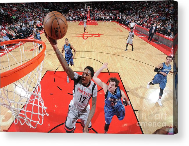 Nba Pro Basketball Acrylic Print featuring the photograph Minnesota Timberwolves V Houston Rockets by Bill Baptist