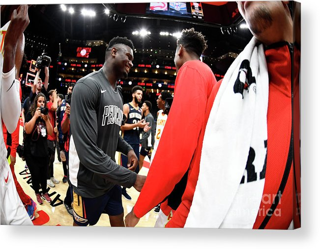 Atlanta Acrylic Print featuring the photograph New Orleans Pelicans V Atlanta Hawks by Scott Cunningham