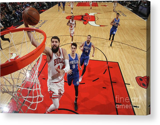 Nba Pro Basketball Acrylic Print featuring the photograph Philadelphia 76ers V Chicago Bulls by Gary Dineen