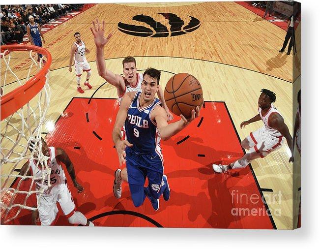 Nba Pro Basketball Acrylic Print featuring the photograph Philadelphia 76ers V Toronto Raptors by Ron Turenne