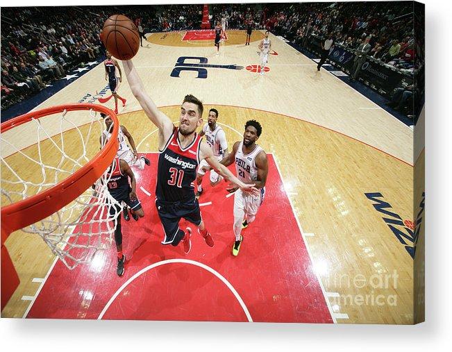 Nba Pro Basketball Acrylic Print featuring the photograph Philadelphia 76ers V Washington Wizards by Ned Dishman