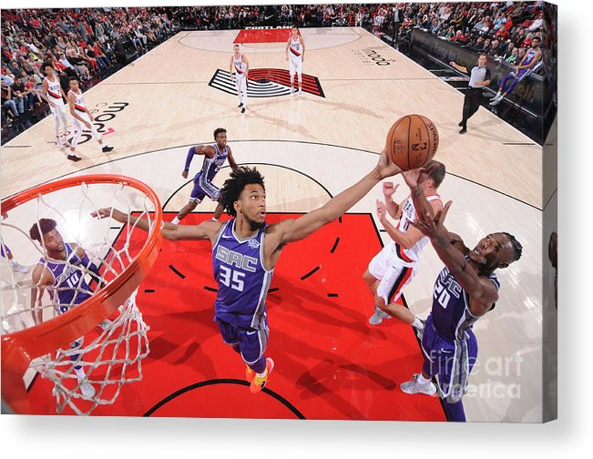 Nba Pro Basketball Acrylic Print featuring the photograph Sacramento Kings V Portland Trail by Sam Forencich