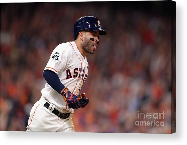 Three Quarter Length Acrylic Print featuring the photograph World Series - Los Angeles Dodgers V by Christian Petersen