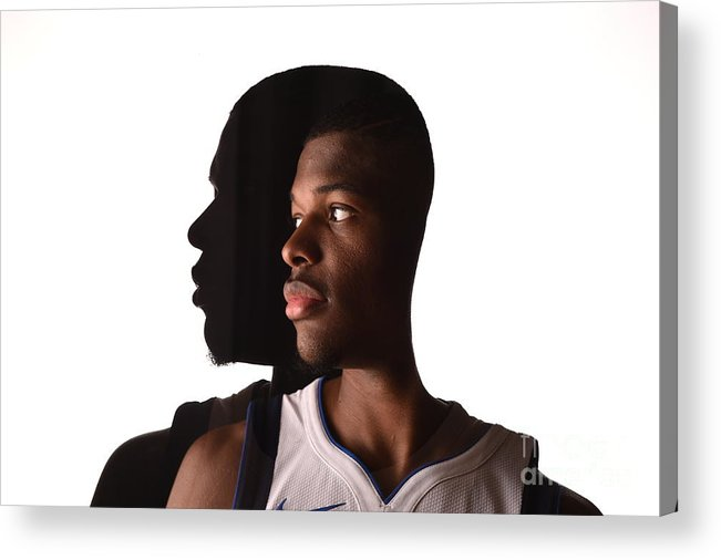 Looking Over Shoulder Acrylic Print featuring the photograph 2017 Nba Rookie Photo Shoot by Brian Babineau