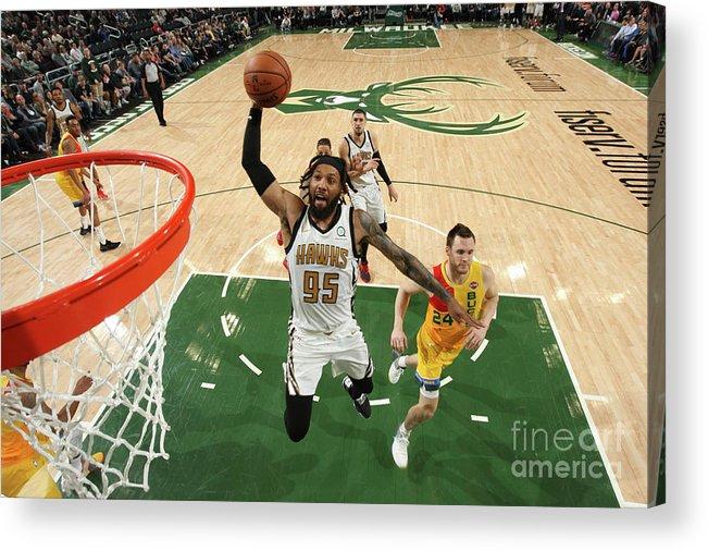 Nba Pro Basketball Acrylic Print featuring the photograph Atlanta Hawks V Milwaukee Bucks by Gary Dineen