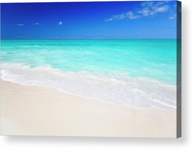Water's Edge Acrylic Print featuring the photograph Clean White Caribbean Beach With Blue by Michaelutech