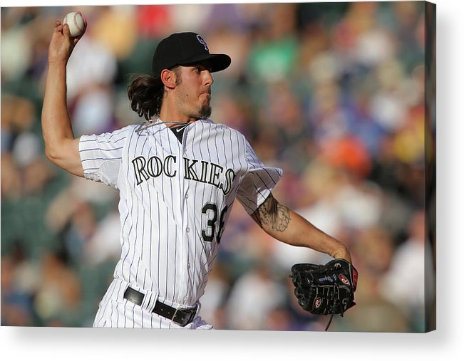 Baseball Pitcher Acrylic Print featuring the photograph Milwaukee Brewers V Colorado Rockies by Doug Pensinger