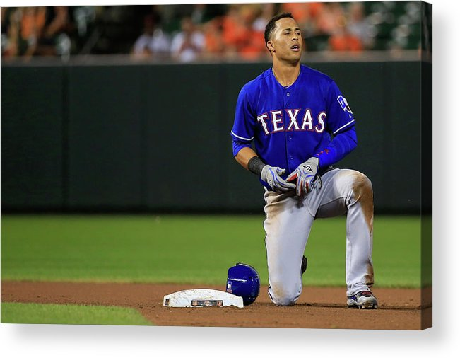 American League Baseball Acrylic Print featuring the photograph Texas Rangers V Baltimore Orioles by Rob Carr