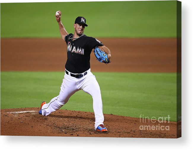 People Acrylic Print featuring the photograph Washington Nationals V Miami Marlins by Rob Foldy