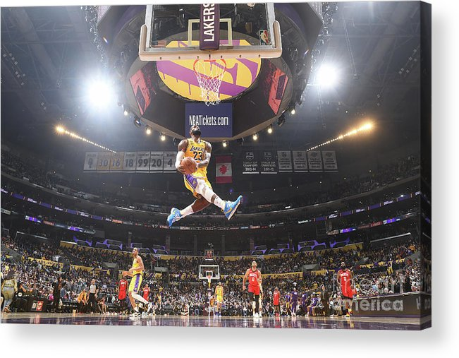 Lebron James Acrylic Print featuring the photograph Lebron James Double-Clutch Reverse Dunk Tribute to Kobe Bryant by Andrew D. Bernstein