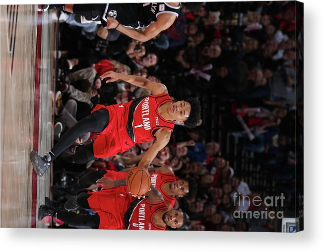 Nba Pro Basketball Acrylic Print featuring the photograph Brooklyn Nets V Portland Trail Blazers by Sam Forencich
