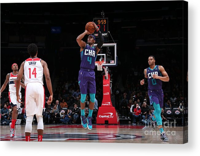 Nba Pro Basketball Acrylic Print featuring the photograph Charlotte Hornets V Washington Wizards by Ned Dishman