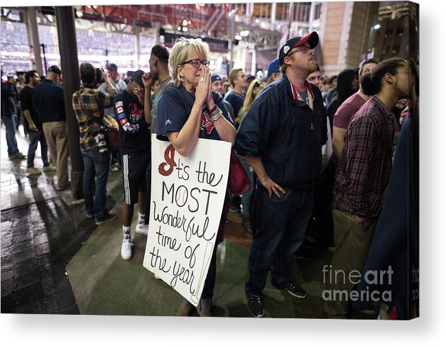 Facial Expression Acrylic Print featuring the photograph Cleveland Indians Fans Gather To The by Justin Merriman