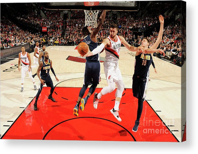 Jusuf Nurkić Acrylic Print featuring the photograph Denver Nuggets V Portland Trail Blazers by Cameron Browne