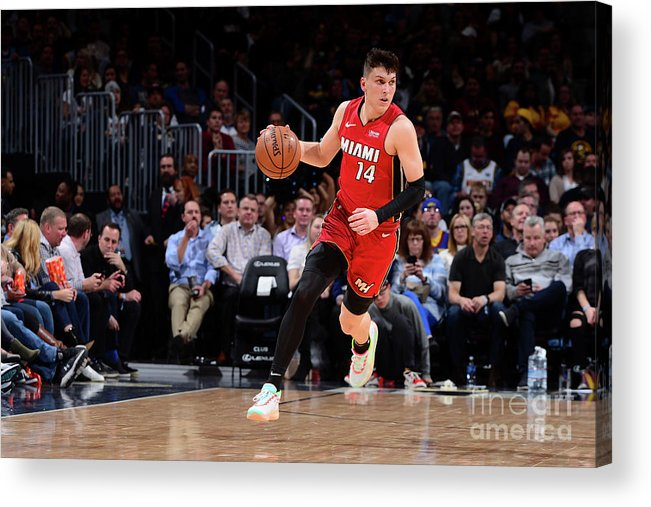 Tyler Herro Acrylic Print featuring the photograph Miami Heat V Denver Nuggets by Bart Young