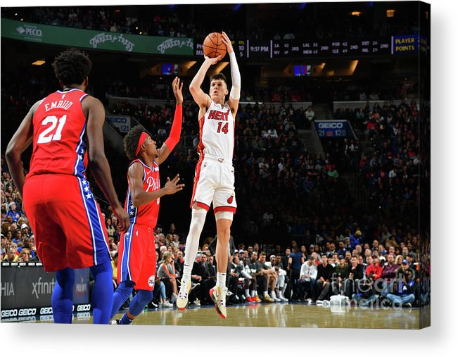Tyler Herro Acrylic Print featuring the photograph Miami Heat V Philadelphia 76ers by Jesse D. Garrabrant