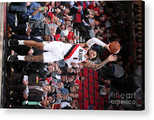 Nba Pro Basketball Acrylic Print featuring the photograph Charlotte Hornets V Portland Trail by Sam Forencich