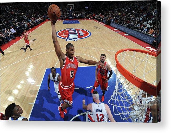 Nba Pro Basketball Acrylic Print featuring the photograph Chicago Bulls V Detroit Pistons by Chris Schwegler