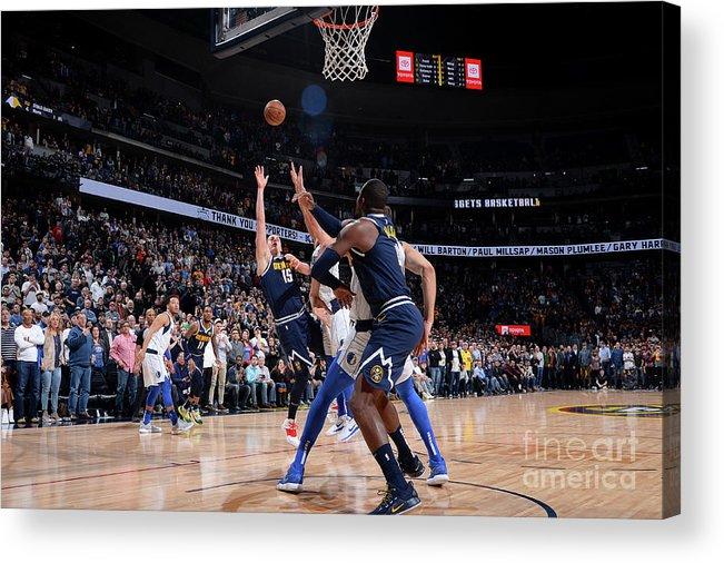 Nba Pro Basketball Acrylic Print featuring the photograph Dallas Mavericks V Denver Nuggets by Bart Young
