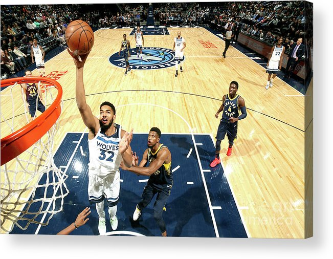 Nba Pro Basketball Acrylic Print featuring the photograph Indiana Pacers V Minnesota Timberwolves by David Sherman
