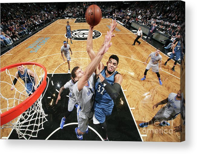 Nba Pro Basketball Acrylic Print featuring the photograph Minnesota Timberwolves V Brooklyn Nets by Nathaniel S. Butler