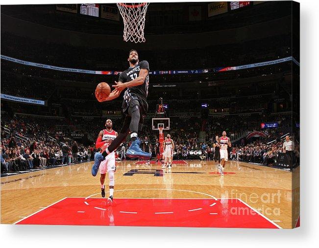 Nba Pro Basketball Acrylic Print featuring the photograph Minnesota Timberwolves V Washington by Ned Dishman