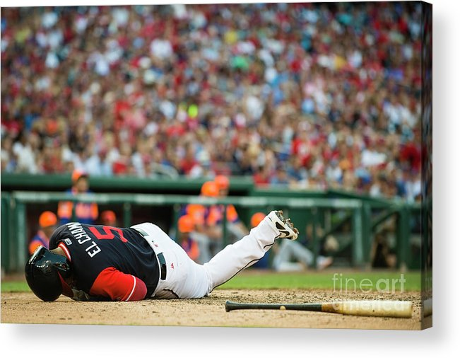 People Acrylic Print featuring the photograph New York Mets V Washington Nationals by Patrick Mcdermott