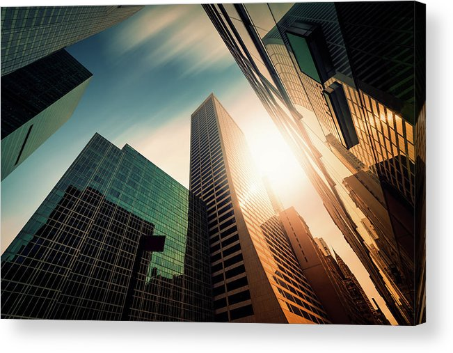 Working Acrylic Print featuring the photograph Office Skysraper In The Sun by Ppampicture