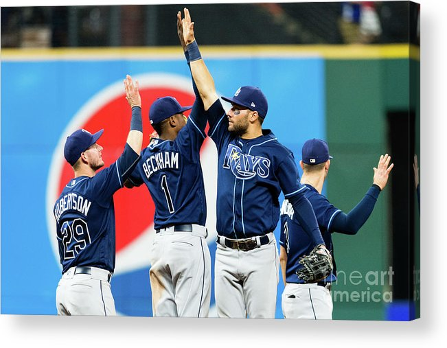 Three Quarter Length Acrylic Print featuring the photograph Tampa Bay Rays V Cleveland Indians by Jason Miller