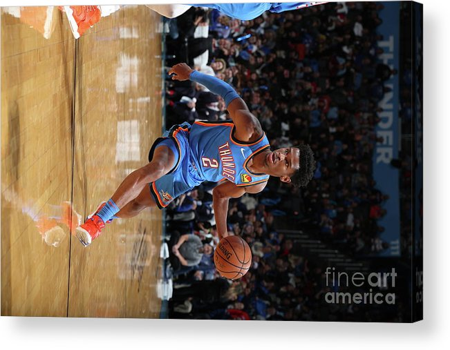 Nba Pro Basketball Acrylic Print featuring the photograph 76ers Vs Thunder by Zach Beeker