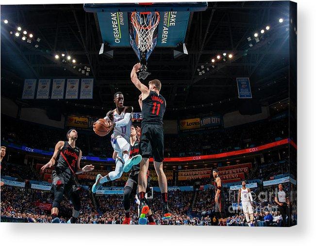 Nba Pro Basketball Acrylic Print featuring the photograph Portland Trail Blazers V Oklahoma City by Zach Beeker