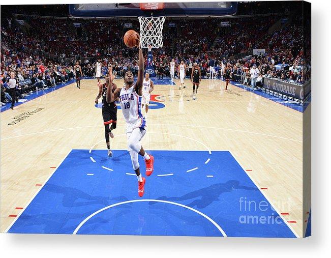 Nba Pro Basketball Acrylic Print featuring the photograph Toronto Raptors V Philadelphia 76ers by Jesse D. Garrabrant
