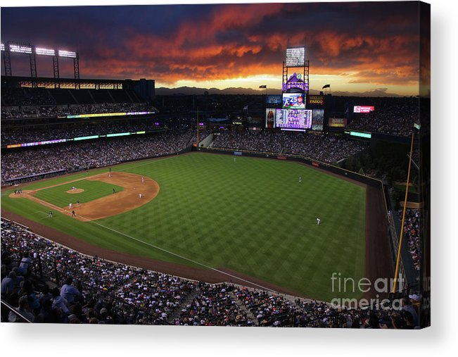 National League Baseball Acrylic Print featuring the photograph Atlanta Braves V Colorado Rockies by Doug Pensinger