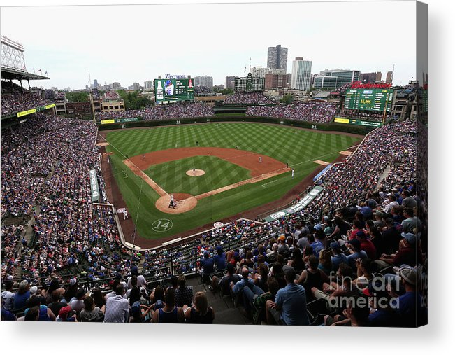American League Baseball Acrylic Print featuring the photograph Philadelphia Phillies V Chicago Cubs by Jonathan Daniel