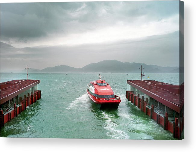 Macao Acrylic Print featuring the photograph A Catamaran Ferry Docks At A Port by Xpacifica