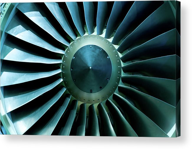 Material Acrylic Print featuring the photograph A Close Of Up A Turbine Showing The by Brasil2