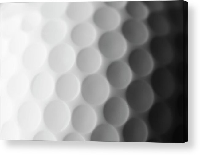 Ball Acrylic Print featuring the photograph A Close Up Shot Of A Golf Ball, White by Anthiacumming