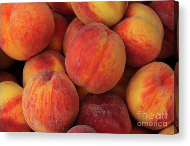 Vitamin C Acrylic Print featuring the photograph A Heap Of Ripe Peaches Prunus Persica by Zen Rial