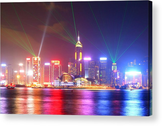 Tranquility Acrylic Print featuring the photograph A Symphony Of Lights by Liu Wai Yip Even