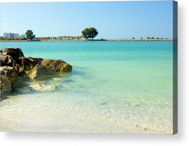 Clearwater Acrylic Print featuring the photograph A View Of A Clear Beach During A Summer by Bluehill75