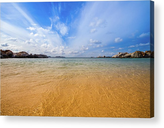 Tranquility Acrylic Print featuring the photograph A View Of The Caribbean Sea From The by Lotus Carroll