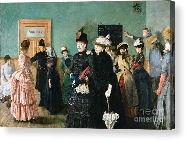 Oil Painting Acrylic Print featuring the drawing Albertine At The Police Doctors Waiting by Heritage Images
