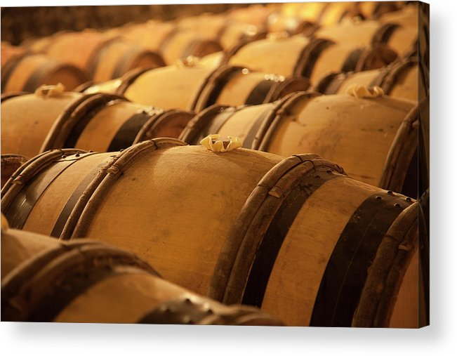 Fermenting Acrylic Print featuring the photograph An Old Wine Cellar Full Of Barrels by Brasil2