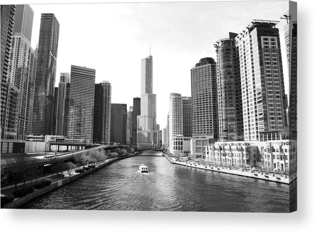 Chicago River Acrylic Print featuring the photograph An Unknown Skyline Along The Chicago by Ricardo Montiel
