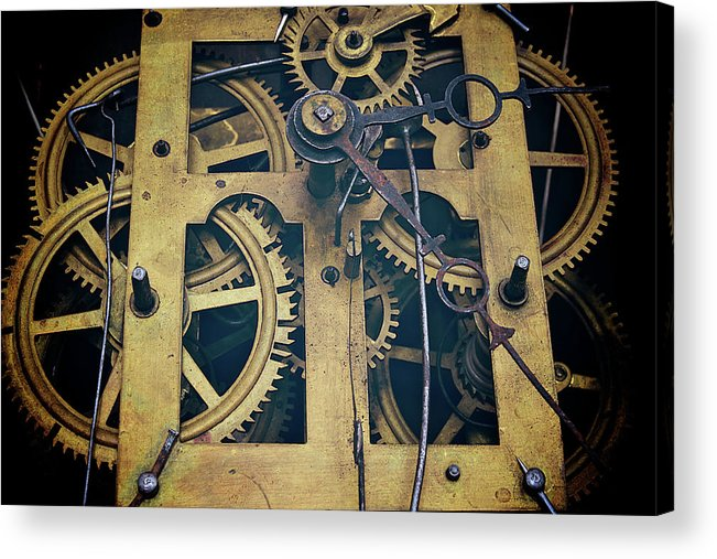 Gear Acrylic Print featuring the photograph Antique Clock Gears, Cog And Parts by Melissa Ross