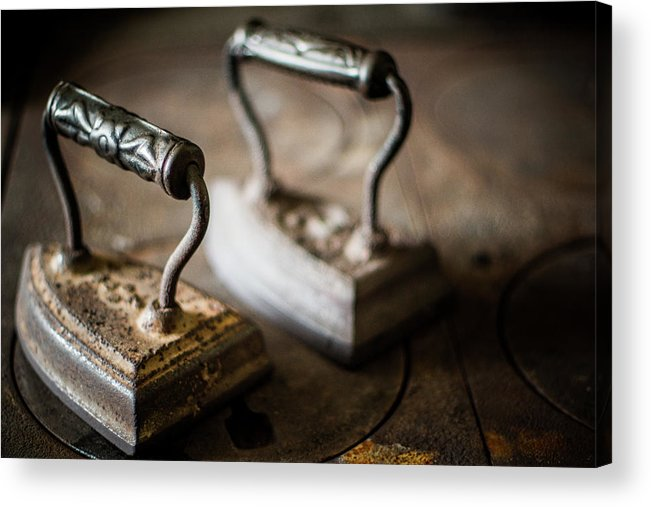 Two Objects Acrylic Print featuring the photograph Antique Irons by Jimss