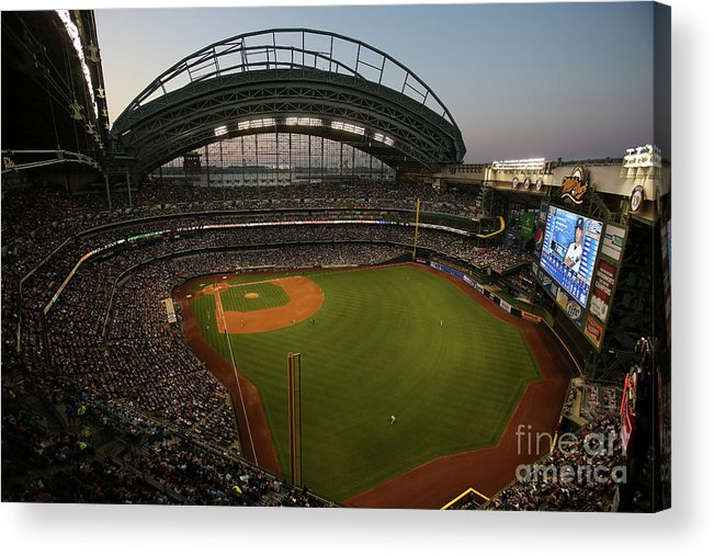 American League Baseball Acrylic Print featuring the photograph Arizona Diamondbacks Vs. Milwaukee by Mlb Photos