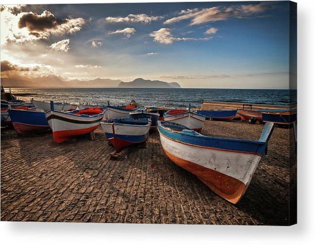 Sicily Acrylic Print featuring the photograph Aspra Boatyard by Fabio Montalto