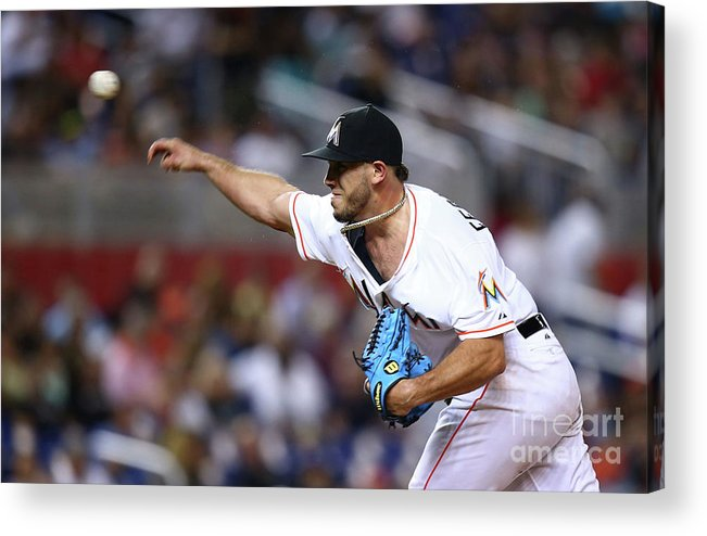 Three Quarter Length Acrylic Print featuring the photograph Atlanta Braves V Miami Marlins by Rob Foldy